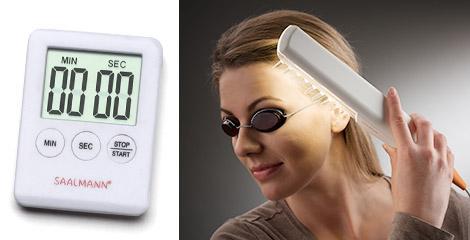 Saalux(R)UVブラシ 付属タイマーと保護ゴーグル、実際の使用例